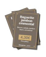 Lot de 30 - Etiquettes prix - Snacking