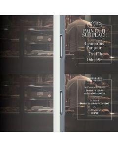 """Vitrophanie - """"Horaires d'ouverture""""  40x50cm"""