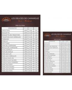 Panneau prix du pain - 40x60cm + 21x29,7cm